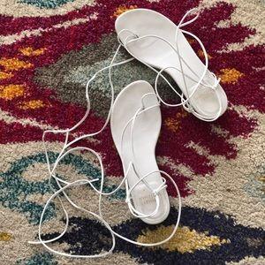 Stuart Weitzman White Tie-Up Sandals